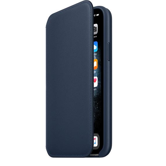 iPhone 11 Pro Max Leather Folio - Deep Sea Blue