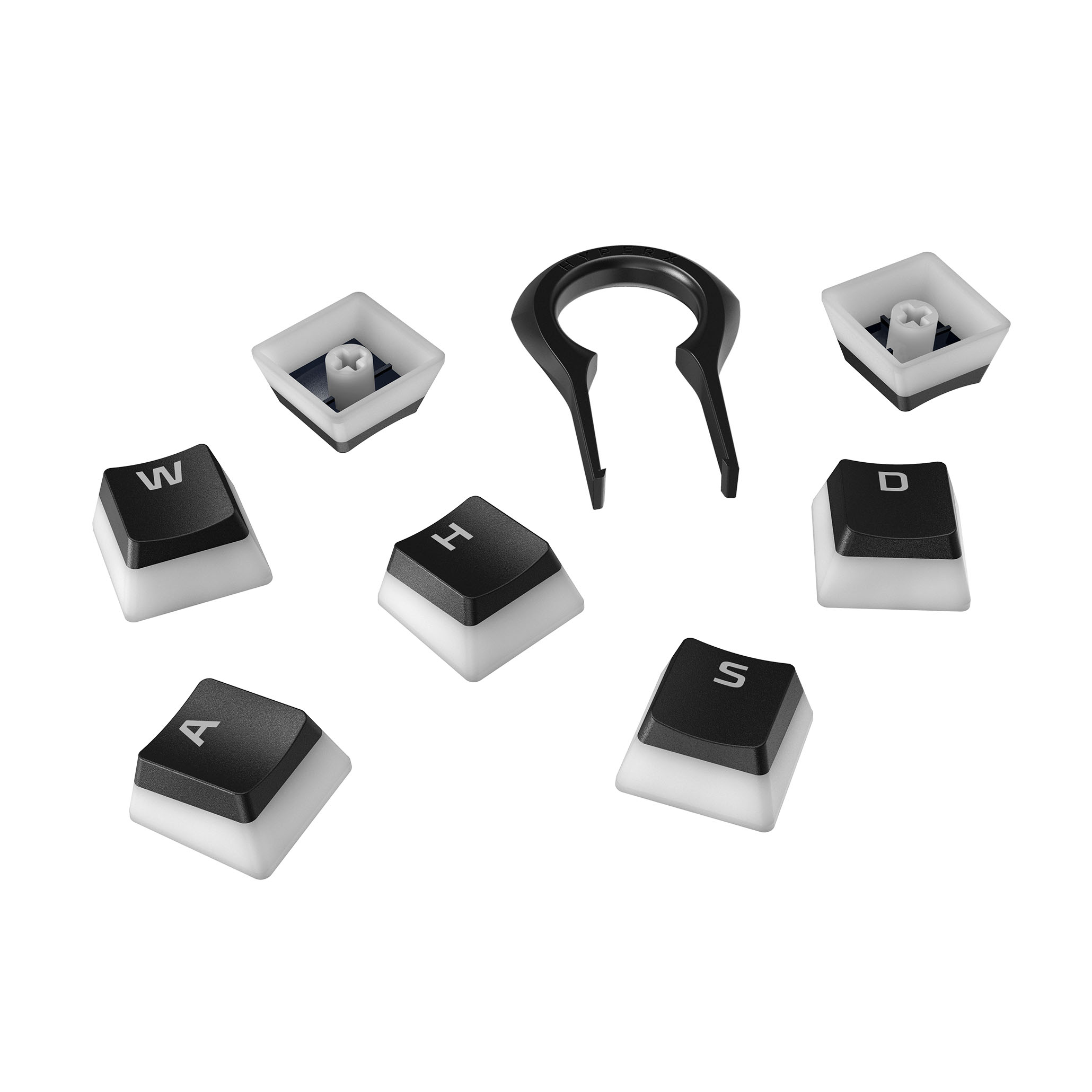 HyperX Pudding Keycaps US black PBT - plná sada kláves