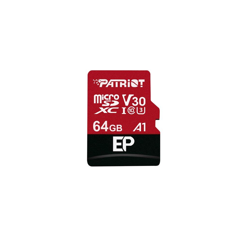 64GB microSDXC Patriot V30 A1, class 10 U3 100/80MB/s + adapter