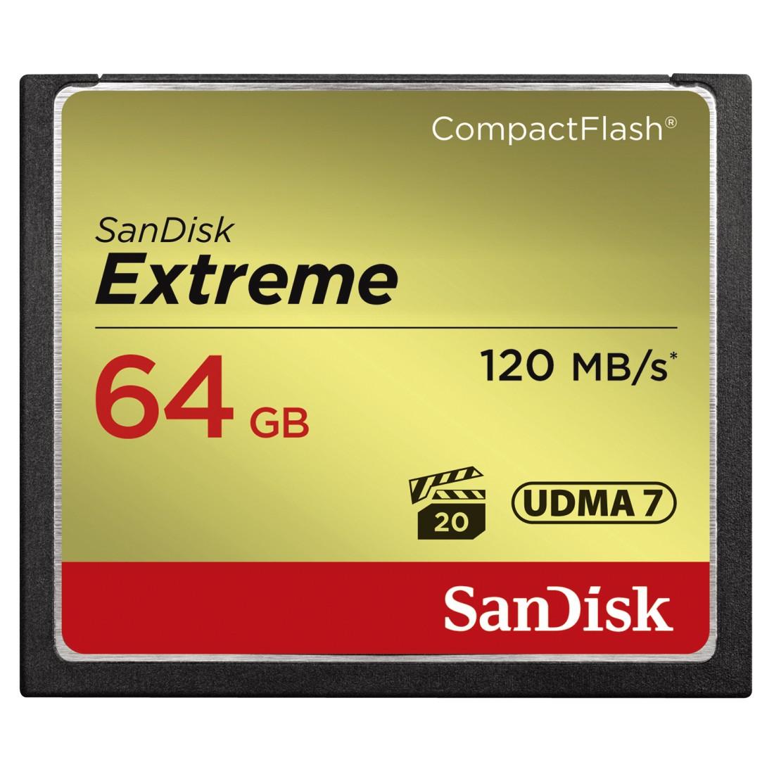SanDisk Compact Flash 64GB Extreme (R:120/W:85 MB/s) UDMA7
