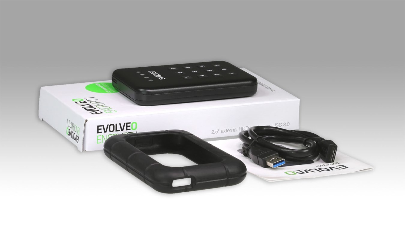 EVOLVEO 2.5'' Encrypt 1, externí rámeček na HDD, USB 3.0