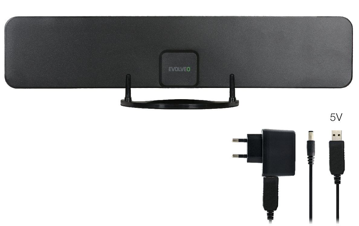 EVOLVEO Xany 2B LTE 230/5V, 43dBi aktivní pokojová anténa DVB-T/T2, LTE filtr