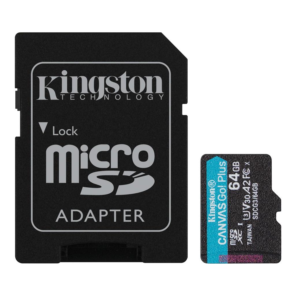 64GB microSDXC Kingston Canvas Go! Plus A2 U3 V30 170MB/s + adapter