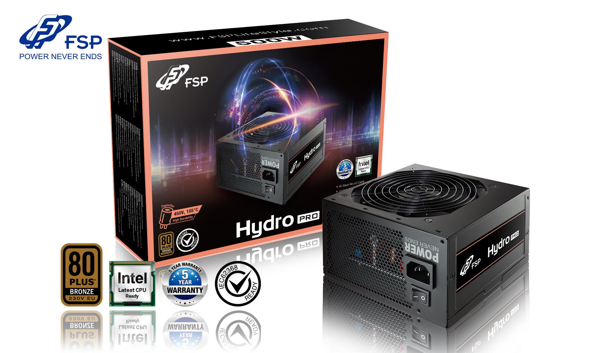 Fortron zdroj 500W HYDRO PRO 500, 80PLUS Bronze, 230V, Single rail design, black flat cables,OCP,OVP,SCP,OPP, 12cm