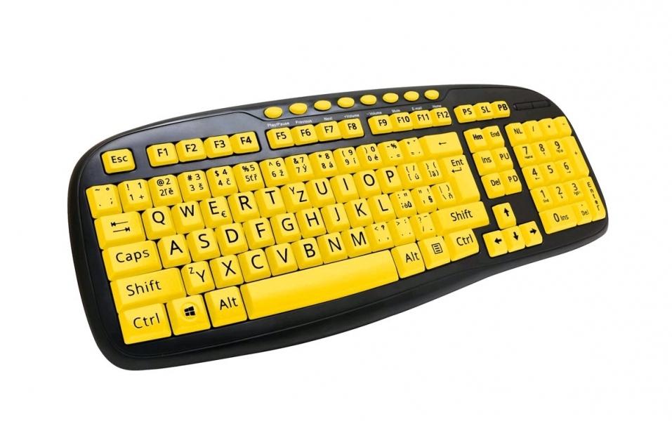 C-TECH CZ/SK KB-103MS USB, multimediální, (Velká písmena; Pro seniory)