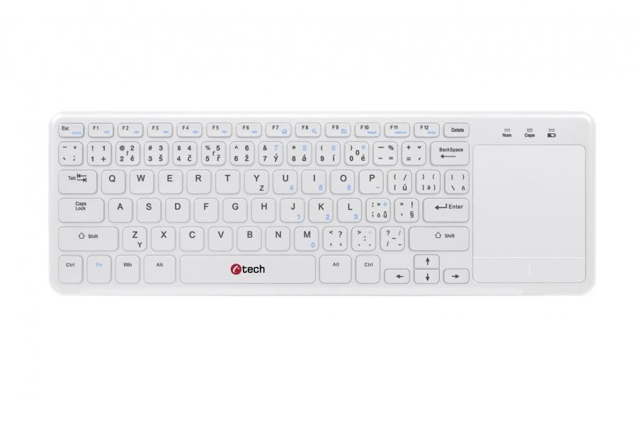 C-TECH Bezdrátová klávesnice s touchpadem WLTK-01 bílá, USB