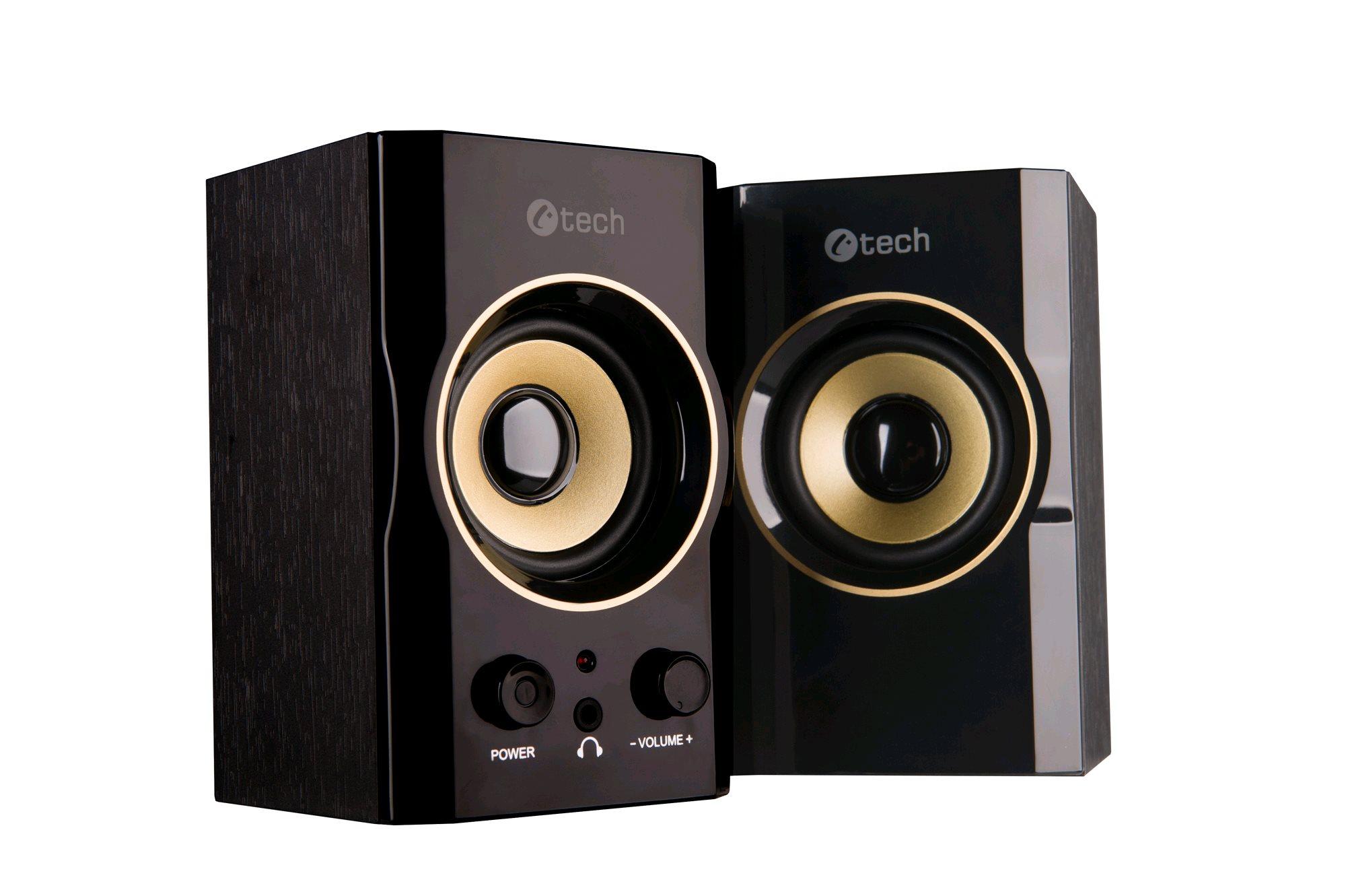 C-TECH repro SPK-11, 2.0, dřevěné, černo-zlaté, USB