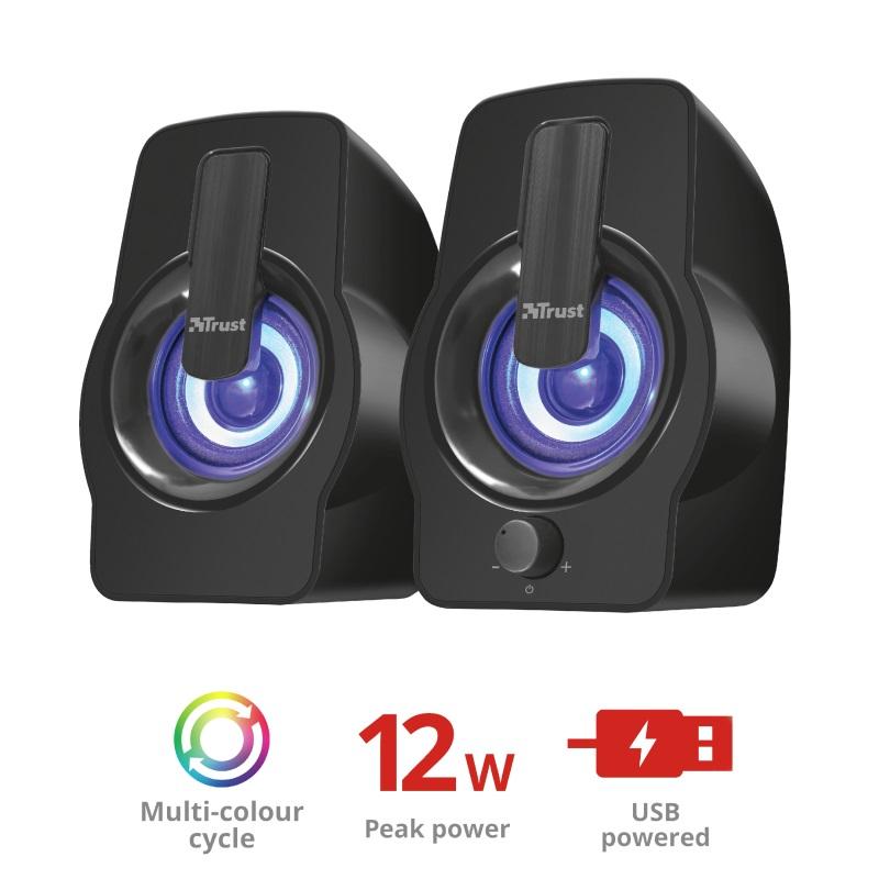 repro TRUST Gemi RGB 2.0 Speaker Set - black