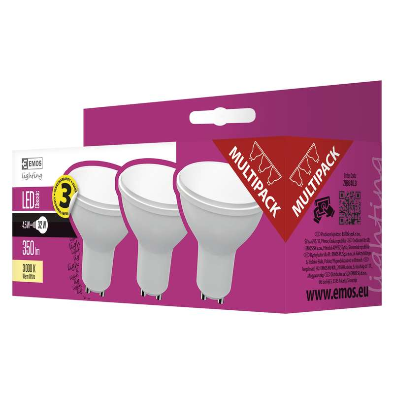 EMOS LED ŽÁROVKA CLASSIC MR16 4,5W GU10 teplá bílá 3ks