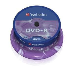 VERBATIM DVD+R(25-Pack)Spindl/MattSlvr/16x/4.7GB