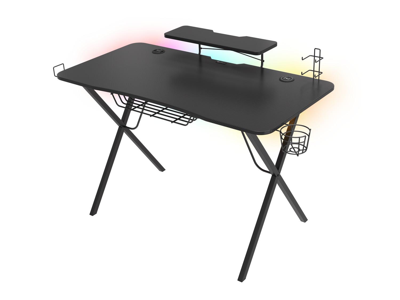Genesis Holm 300 RGB - herní stůl s RGB podsvícením, 3xUSB 3.0, bezdrátová nabíječka mobilů