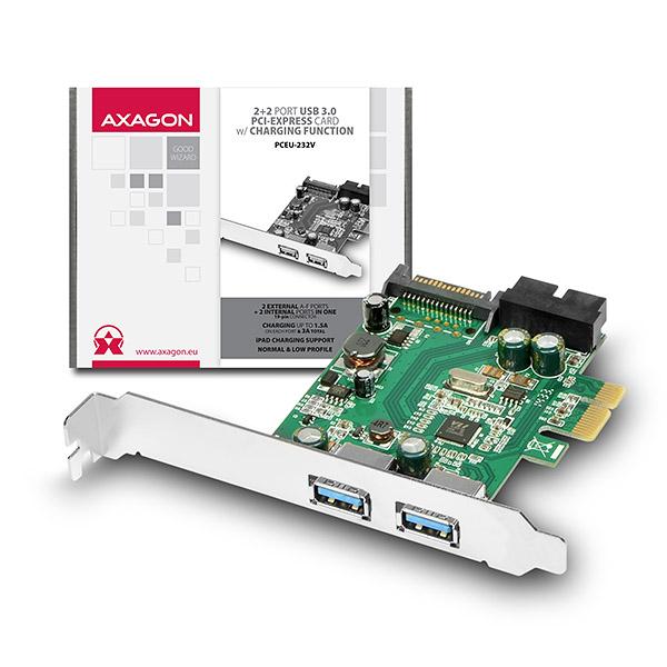 AXAGON PCEU-232V, PCIe adaptér, 2+2x USB3.0, UASP, nabíjení 3A, vč. LP