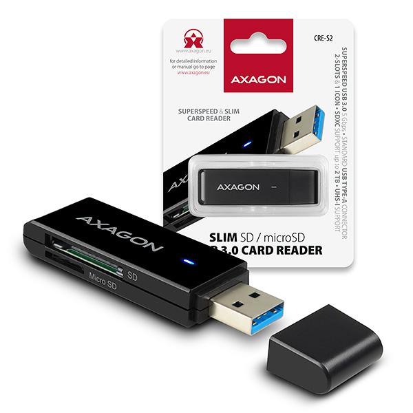 AXAGON CRE-S2, USB 3.0 Type-A - externí SLIM čtečka 2-slot SD/microSD, podpora UHS-I