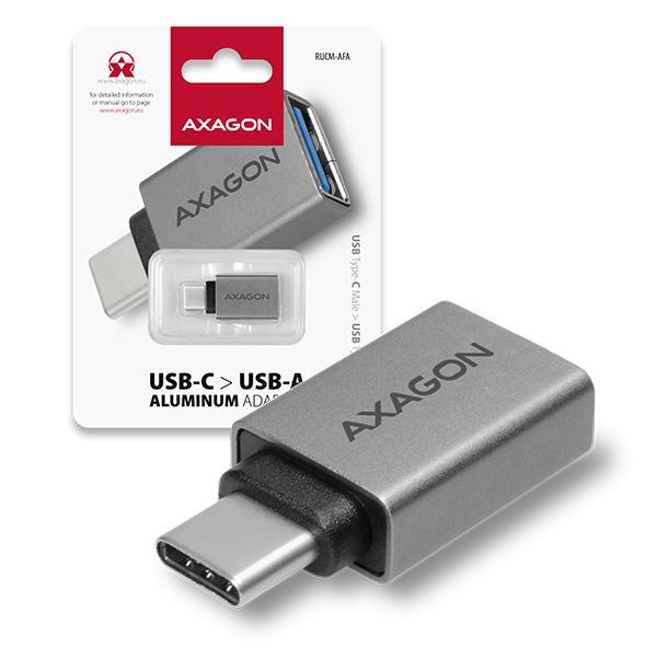 AXAGON RUCM-AFA, USB 3.1 Type-C Male -> Type-A Female ALU redukce