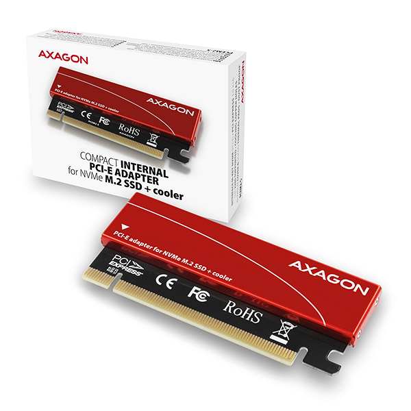 AXAGON PCEM2-S, PCIe x16 - M.2 NVMe M-key slot adaptér, + pasivní chladič