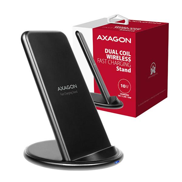 AXAGON WDC-S10D, stojánková bezdrátová rychlonabíječka, Qi 5/7.5/10W, dvoucívková, micro USB