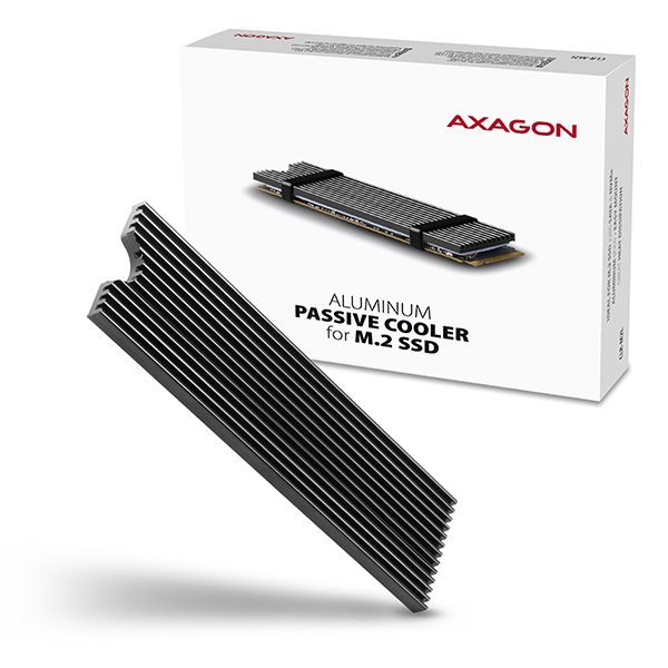 AXAGON CLR-M2L, hliníkový pasivní chladič pro M.2 2280 SSD