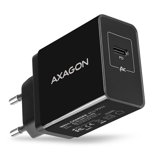 AXAGON ACU-PD22, PD nabíječka do sítě, 1x USB-C port, PD3.0/QC3.0/AFC/FCP/Apple, 22W