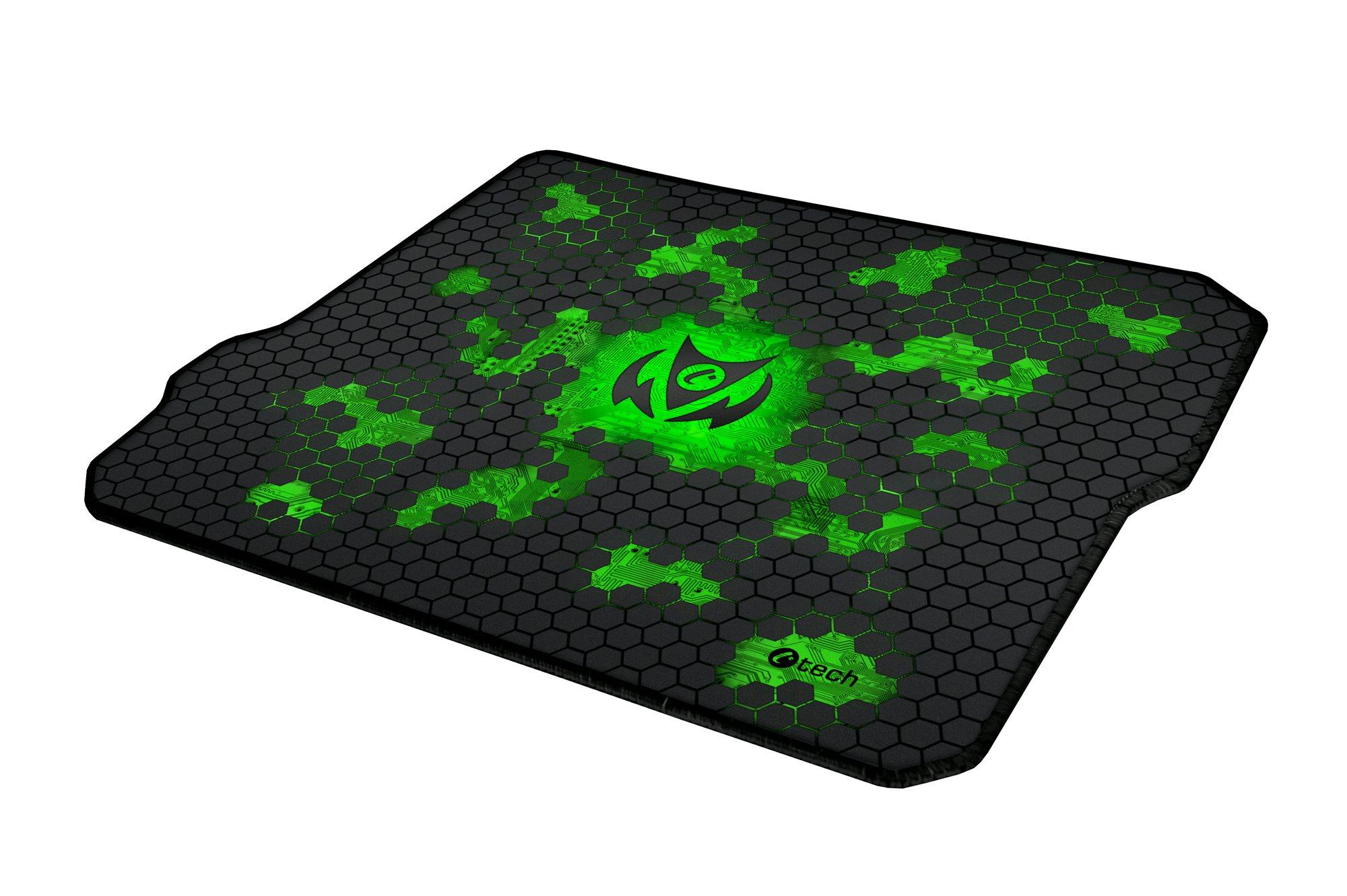 C-TECH herní podložka pod myš ANTHEA CYBER GREEN, 320x270x4mm, obšité okraje