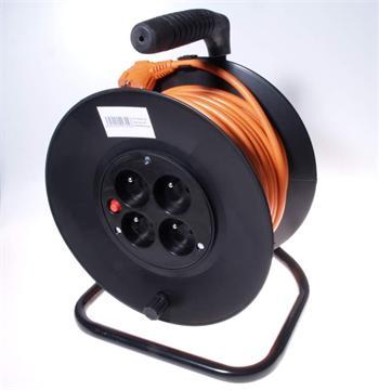 PremiumCord Prodlužovací kabel 230V 50m buben, průřez vodiče 3x1,5mm2, 4x zásuvka