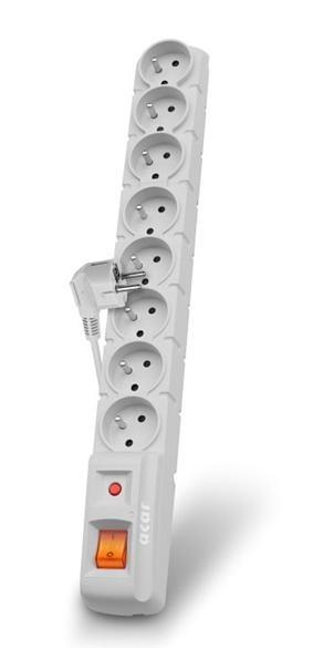 Acar S8 3m kabel, 8 zásuvek, přepěťová ochrana, bílá