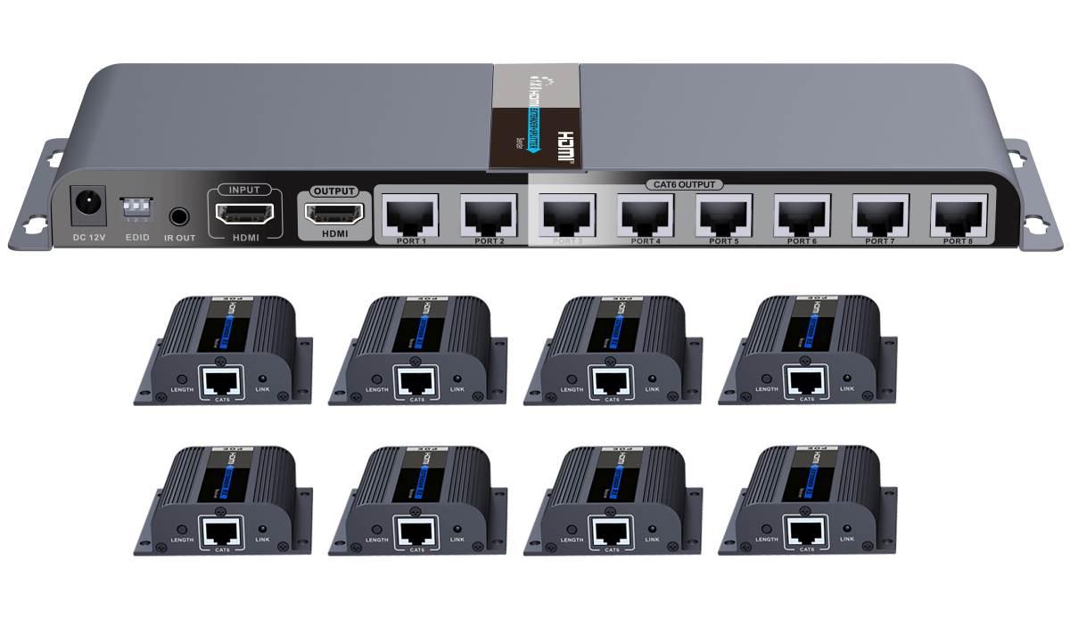 PremiumCord HDMI 1-8 splitter+extender po CAT6/6a/7, FULL HD, 3D
