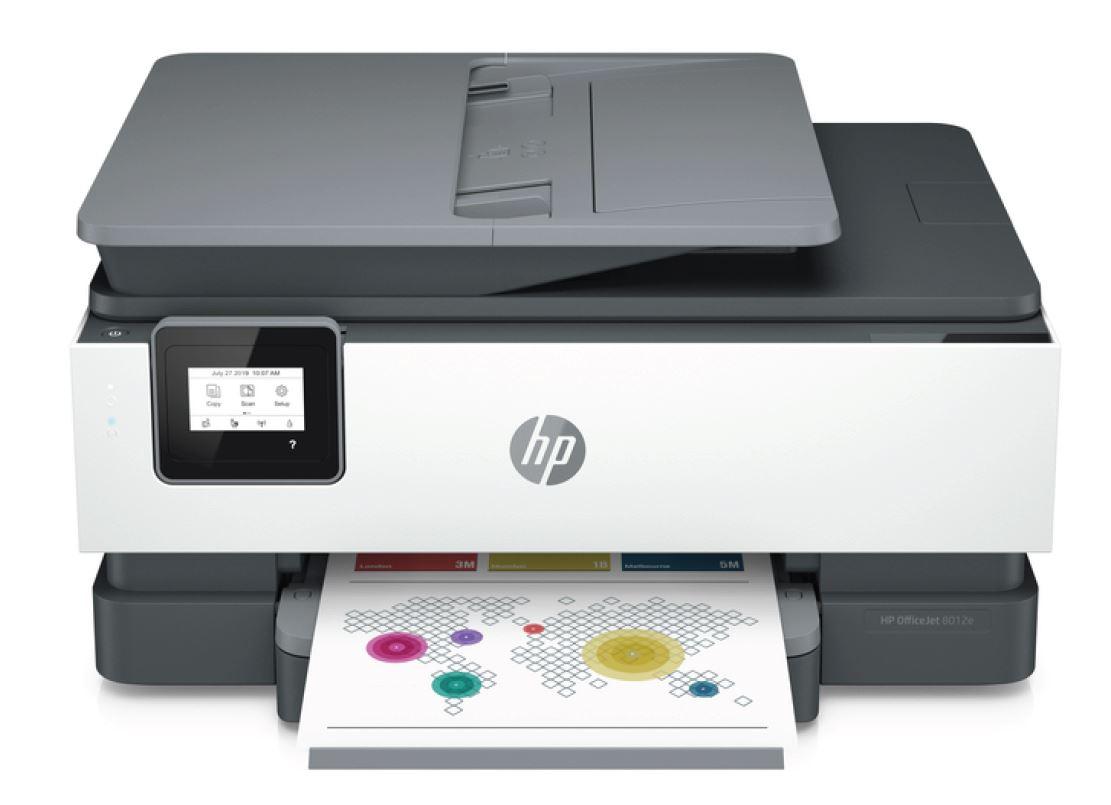 HP Officejet 8012e (HP Instant Ink), A4 tisk, sken, kopírování a fax. 18/10 ppm, wifi, duplex, ADF