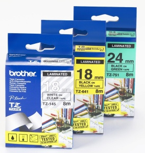 BROTHER TZE145 - kazeta TZ šířky 18mm, laminovaná TZE-145, průsvitná/bílé písmo