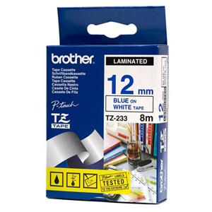 BROTHER TZE233 - kazeta TZ šířky 12mm, laminovaná TZE-233, bílá/modré písmo