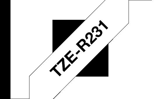 TZE-R231, černý tisk na bílé, šířka 12 mm
