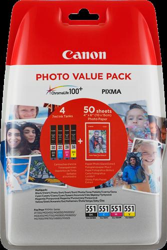 Canon BJ CARTRIDGE CLI-551 C/M/Y/BK PHOTO VALUE BL