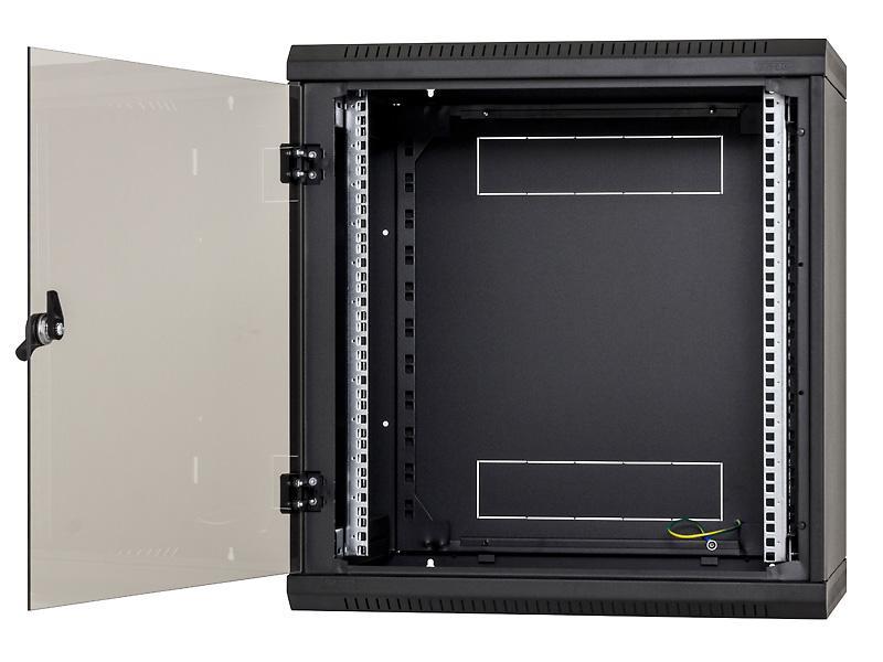 Nástěnný rack jednodílný 12U (š)600x(h)595 perforované dveře černý
