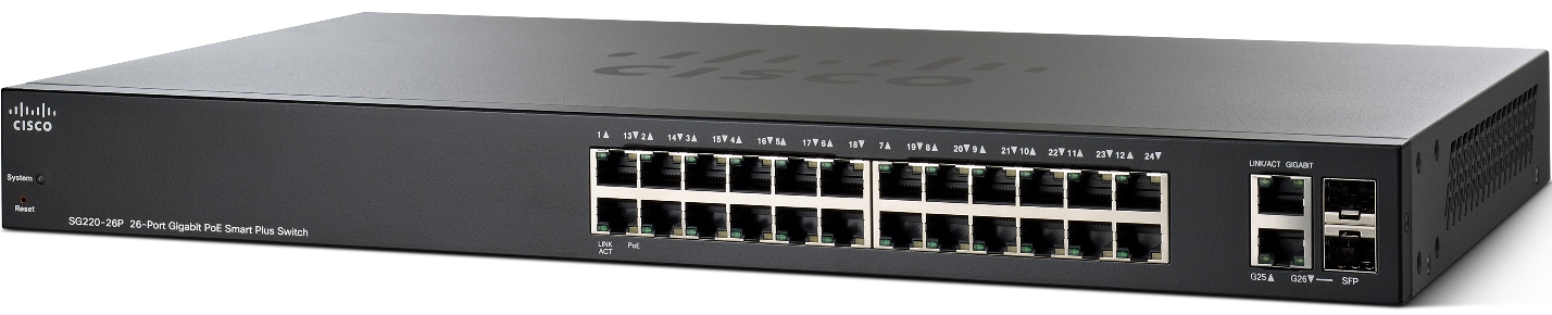 Cisco SG220-26P-K9-EU 26xGigabit PoE Smart+ Switch