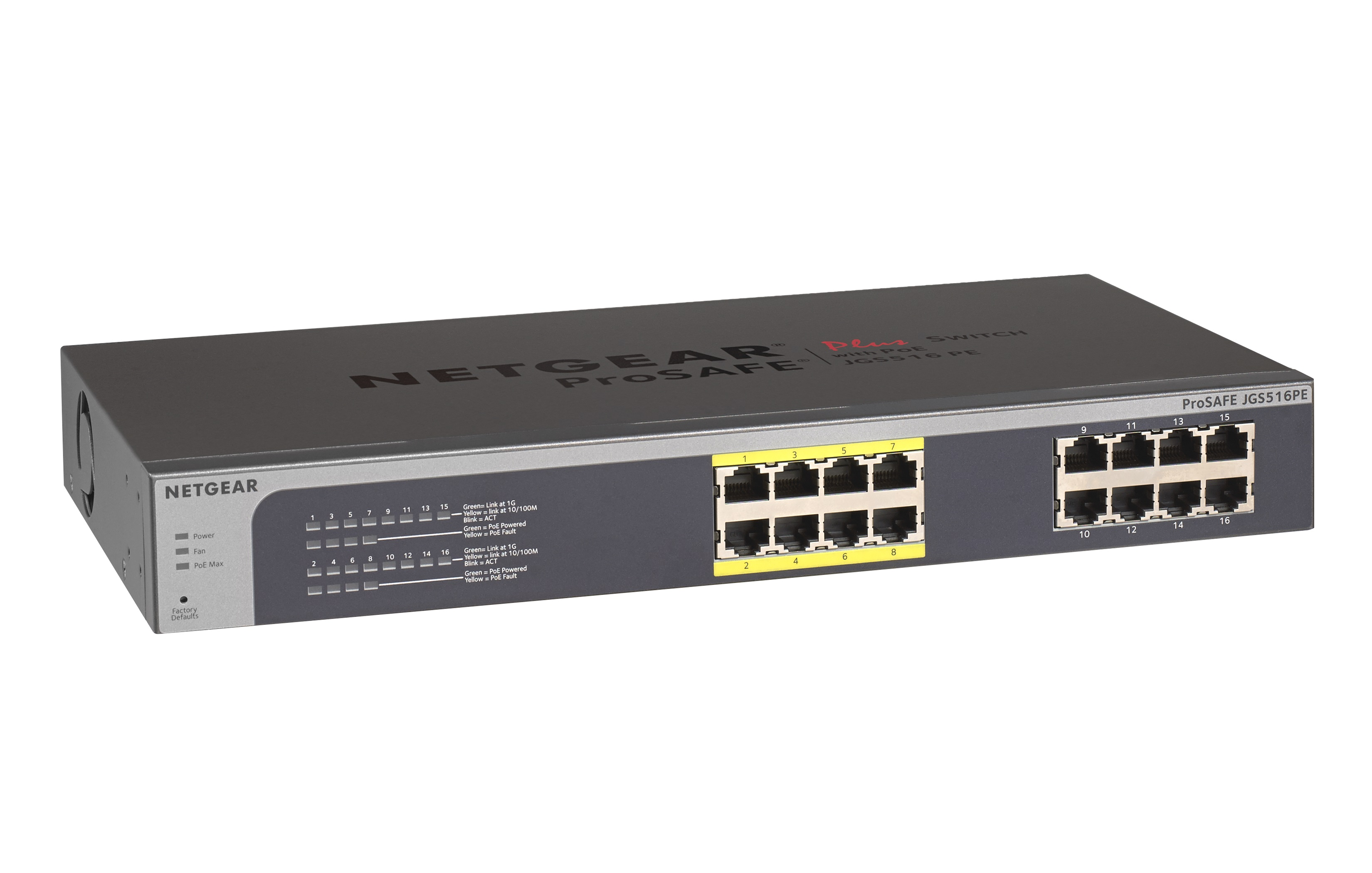 NETGEAR ProSAFE Plus 16 ports switch with PoE, Rack-mount, JGS516PE - PROMO