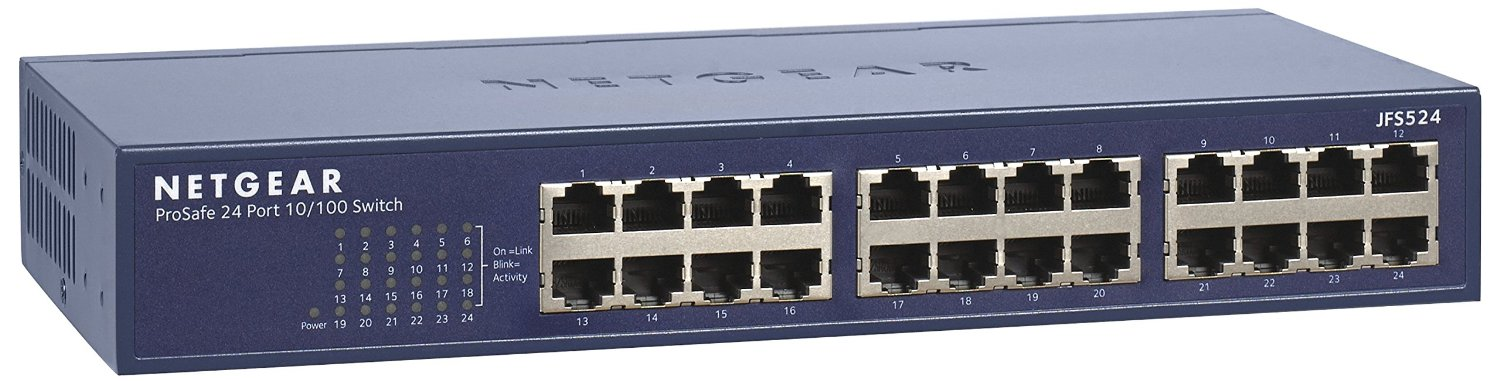 NETGEAR ProSAFE 24 Port 10/100 Mbps Fast Ethernet Switch, Rack-mount, JFS524