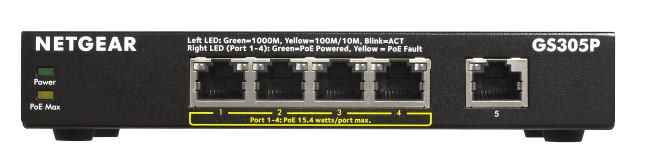 Netgear GS305P Gigabit Switch 5portů, 4xPoE