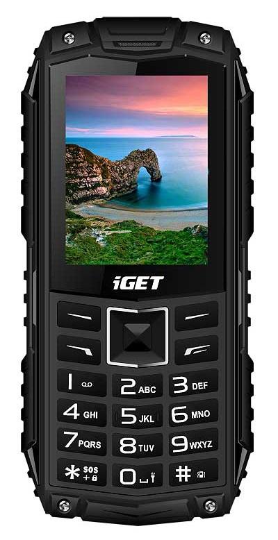 iGET Defender D10 Black - odolný telefon IP68, DualSIM, 2500 mAh, BT, powerbanka, svítilna, FM, MP3