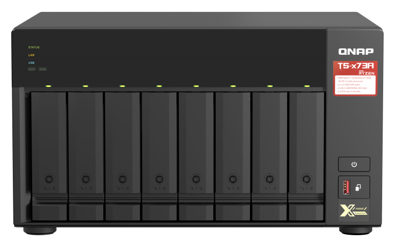 QNAP TS-673A-8G (Ryzen 2,2GHz / 8GB RAM / 6x SATA / 2x M.2 NVMe slot / 2x 2,5GbE / 2x PCIe / 4x USB)