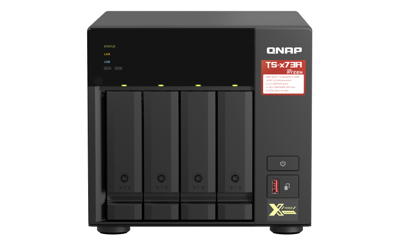 QNAP TS-473A-8G (Ryzen 2,2GHz / 8GB RAM / 4x SATA / 2x M.2 NVMe slot / 2x 2,5GbE / 2x PCIe / 4x USB)