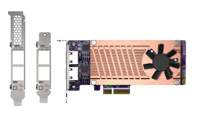 QNAP QM2 series, 2 x PCIe 2280 M.2 SSD slots, PCIe Gen3 x 4 , 2 x  Intel I225LM 2.5GbE NBASE-T port
