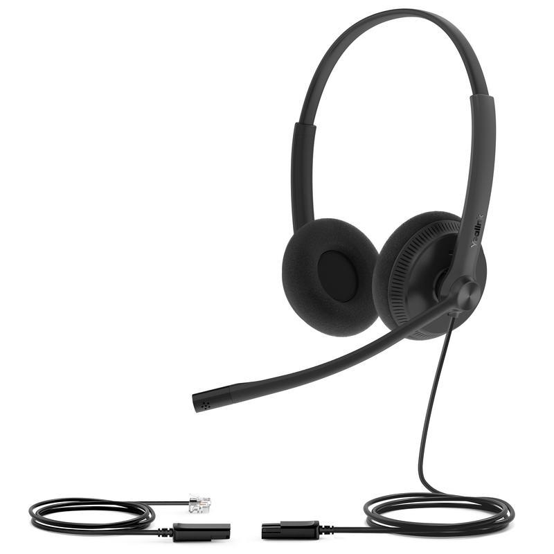 Yealink YHS34 Lite Dual náhlavní souprava na obě uši s QD-RJ9 konektory