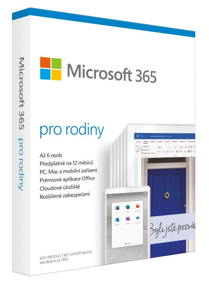 Microsoft 365 Family P6 Mac/Win, 1 Rok, CZ
