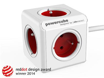 Zásuvka prodlužovací PowerCube EXTENDED 5-ti rozbočka, kabel 3m, Red