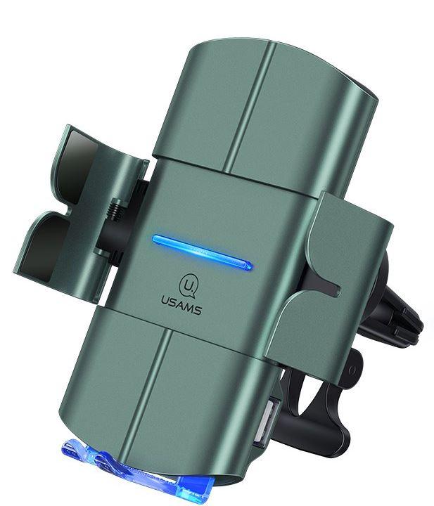 USAMS CD132 Automatic Coil Air Con. Držák do Auta vč. Bezdrátového Dobíjení 15W Black