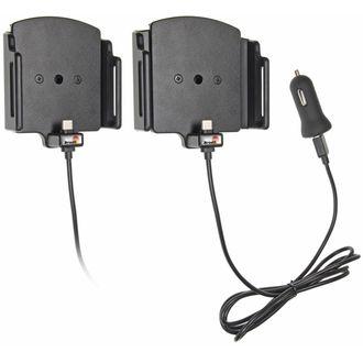 Brodit držák do auta nastavitelný s USB-C a nabíjením z cig. zapalovače/USB š.75-89 mm, tl. 6-10