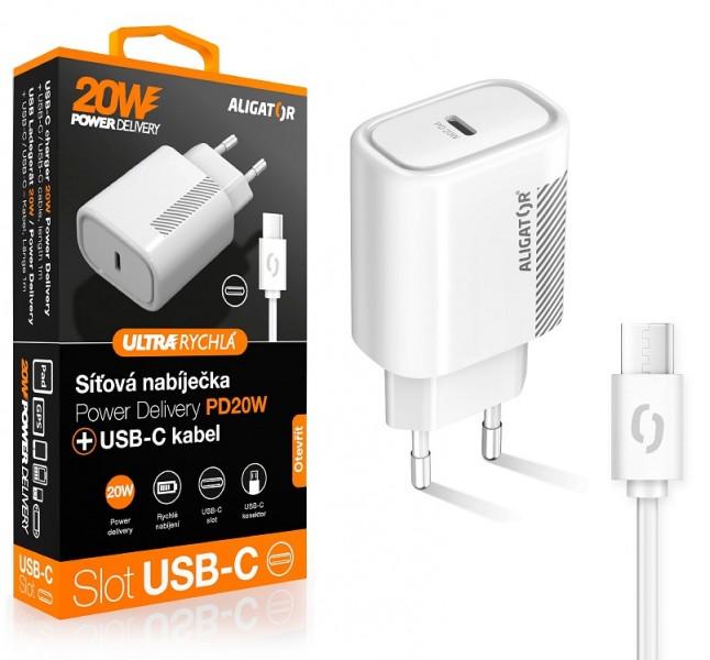 Aligator POWER DELIVERY 20W, USB-C, bílá, USB-C/USB-C kabel