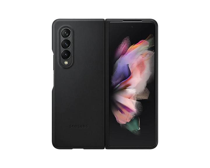 Samsung Kožený zadní kryt Z Fold3 Black