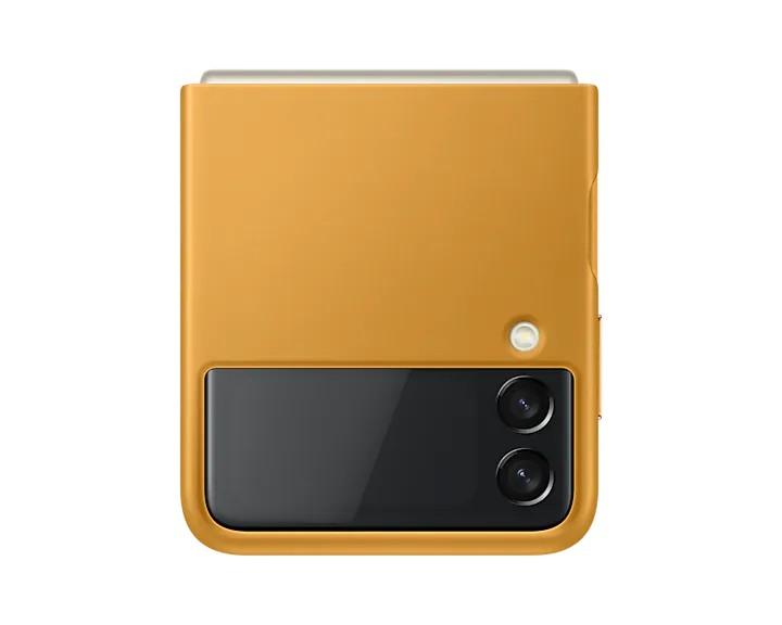 Samsung Kožený zadní kryt Z Flip3 Mustard