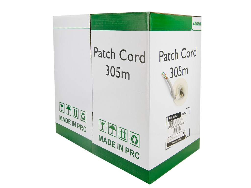4World Patch kabel Cat5e UTP 305m drát měď Gray
