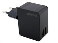 AVACOM HomeNOW síťová nabíječka 3,4A se dvěma výstupy, černá barva (USB-C kabel)
